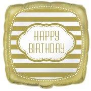 Ballon à Plat Happy Birthday Gold