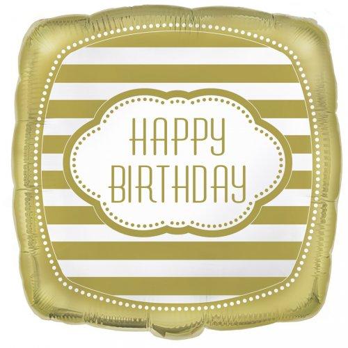 Ballon Gonflé à l Hélium Happy Birthday Gold