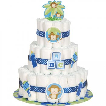 Kit décorations Diaper Cake Ouistiti Baby Boy