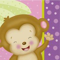 Contient : 1 x 16 Serviettes Ouistiti Baby Girl