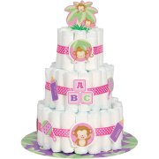 Kit D�corations Diaper Cake Ouistiti Baby Girl