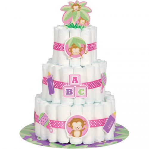 Kit Décorations Diaper Cake Ouistiti Baby Girl