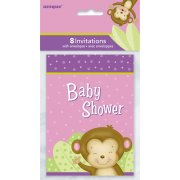 8 Invitations Baby Shower Ouistiti Girl