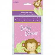 8 Invitations Baby Shower Ouistiti Girl