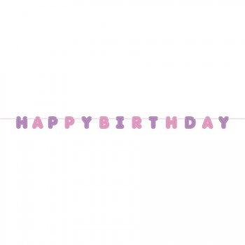 Bannière Lettre Happy Birthday Pink Ballerine