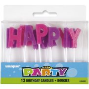 Bougies Happy birthday Duo Rose et Violet