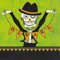 Contient : 1 x 16 Serviettes Squelette en fête