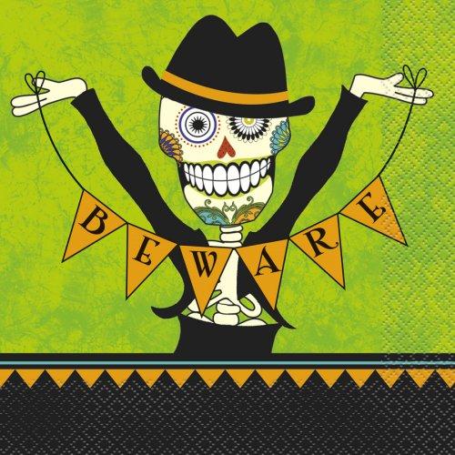 16 Serviettes Squelette en fête