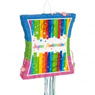 Pull Pinata dépliable Joyeux Anniversaire Rainbow