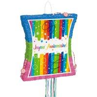 Contient : 1 x Pull Pinata dépliable Joyeux Anniversaire Rainbow