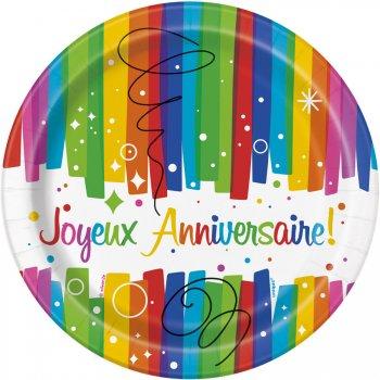 8 Petites Assiettes Joyeux Anniversaire Rainbow