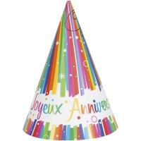 Contient : 1 x 8 Chapeaux Joyeux Anniversaire Rainbow