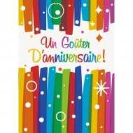 8 Invitations Joyeux Anniversaire Rainbow
