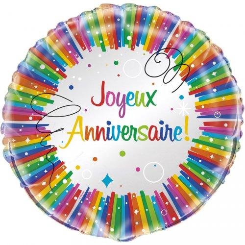 Ballon Gonflé à l Hélium Joyeux Anniversaire Rainbow
