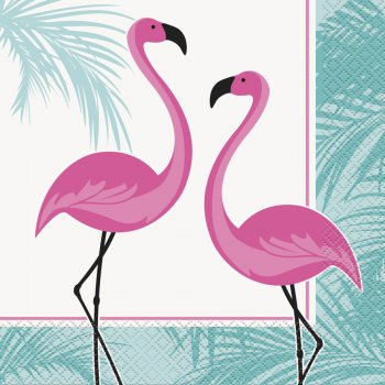 16 Serviettes Flamant Rose Vintage