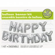 Guirlande 13 Ballons Happy Birthday Argent
