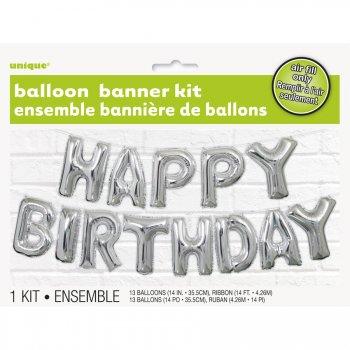 Guirlande 13 Ballons Happy Birthday Argent