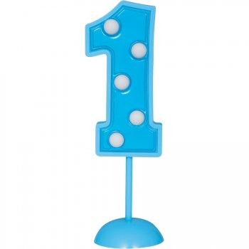 Grand Chiffre 1 clignotant Bleu (17 cm)
