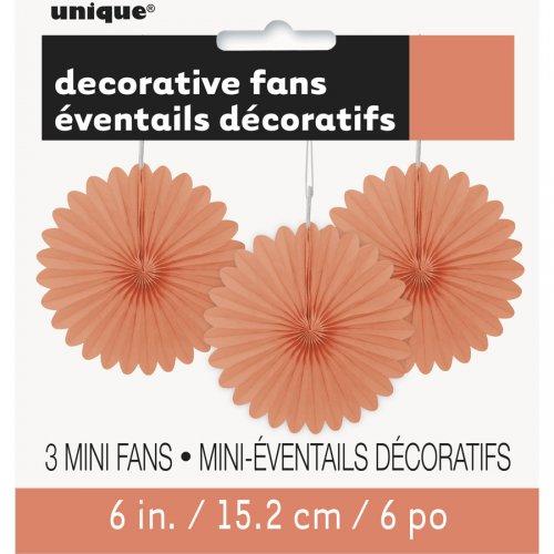 3 Mini Eventails Déco Corail (15 cm)