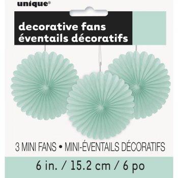 3 Mini Eventails Déco Vert Menthe (15 cm)
