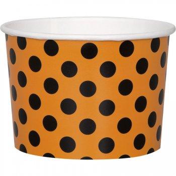 8 Pots à Pois Orange/Noir (8,5 cm)