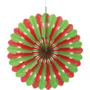 1 Eventail Déco Vert/Rouge (40 cm)