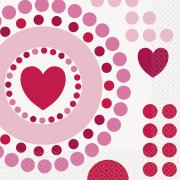 16 Serviettes Coeur Farandole