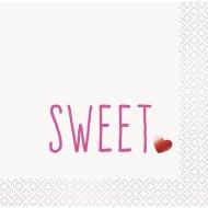 16 Petites Serviettes Coeur Sweet