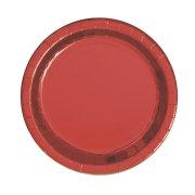 8 Petites Assiettes Rouge Métal
