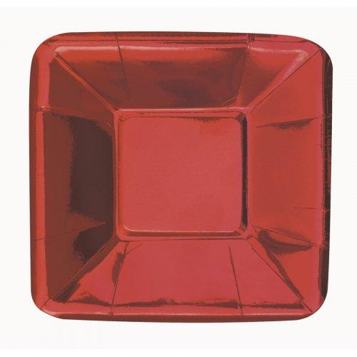 8 Minis Assiettes Carrées Rouge Métal