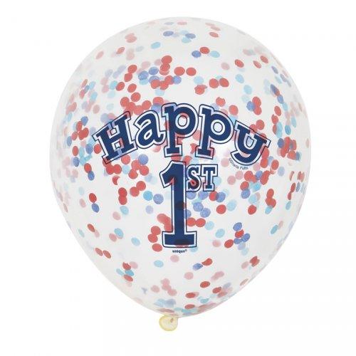 6 Ballons Confettis 1 An Marin