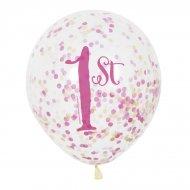 6 Ballons Confettis 1 An Princesse