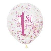 Contient : 1 x 6 Ballons Confettis 1 An Princesse