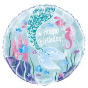 Ballon Gonflé à l'Hélium Happy Birthday Princesse Sirène