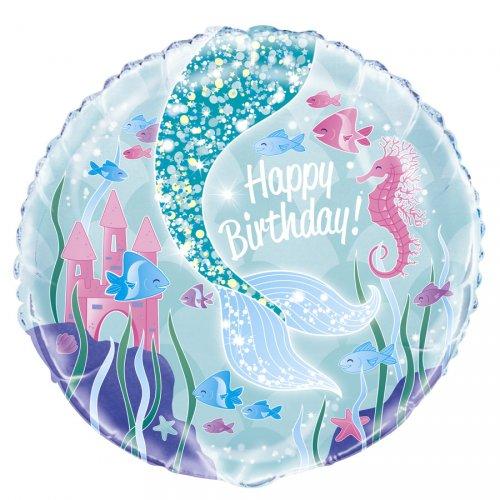 Ballon Gonflé à l Hélium Happy Birthday Princesse Sirène