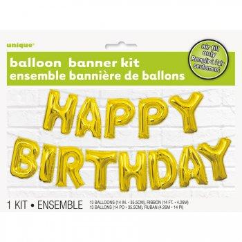 Guirlande Ballon Happy Birthday Gold