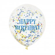 6 Ballons Happy Birthday et Confettis Multicolores