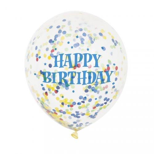 6 Ballons Happy Birthday et Confettis Multicolores