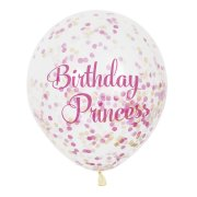 6 Ballons Birthday Princesse et Confettis Roses/Or
