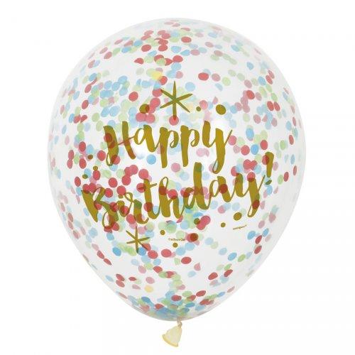 6 Ballons Happy Birthday Or et Confettis Multicolores