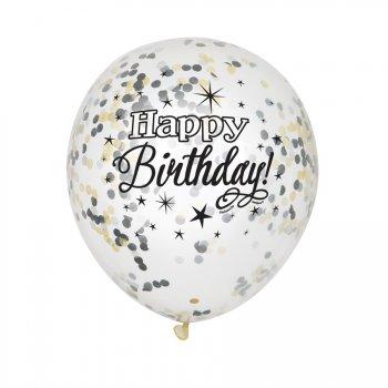 6 Ballons Happy Birthday Noir et Confettis Or/Argent