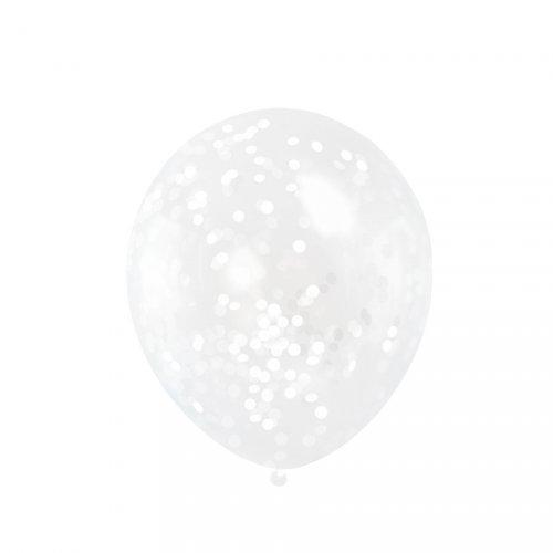 6 Ballons Transparents et Confettis Blancs