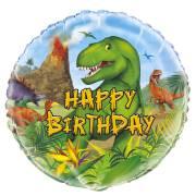 Ballon Gonflé à l'Hélium Happy Birthday Dino Jungle