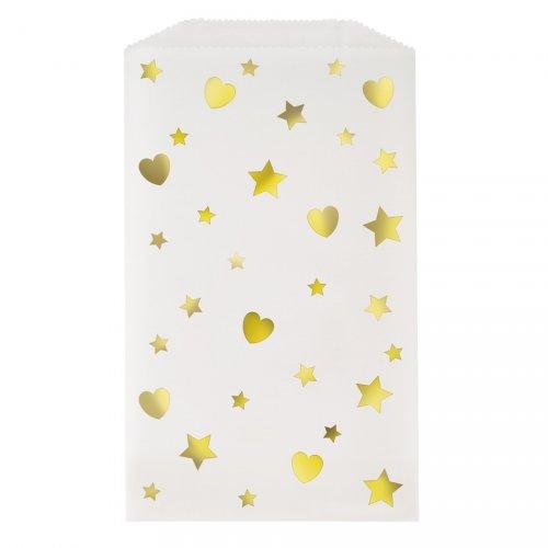 8 Mini Pochettes Cadeaux Coeurs Iridescent (16 cm)
