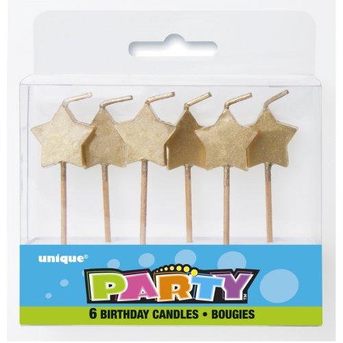 6 Mini Bougies Etoiles Or
