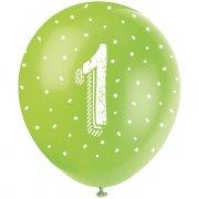 5 Ballons Multicolores Chiffre 1