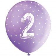 5 Ballons Multicolores Chiffre 2