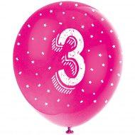 5 Ballons Multicolores Chiffre 3