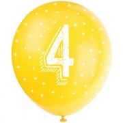 5 Ballons Multicolores Chiffre 4