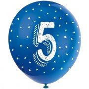 5 Ballons Multicolores Chiffre 5